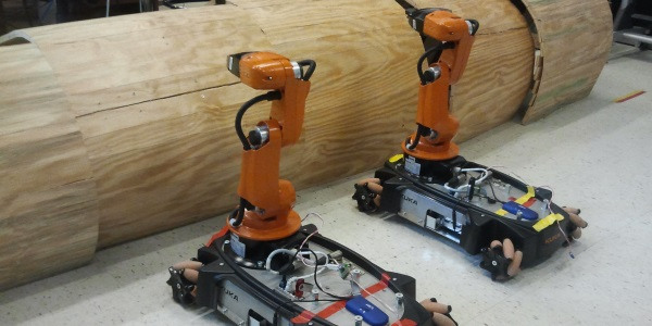 KUKA youBots in work coordination